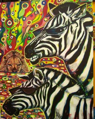 Cool zebra painting by Charlotte, North Carolina artist Tony Java!, on display at NoDa art gallery Boulevard.