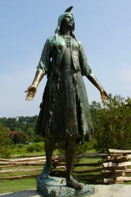 Commemorative statue of Pocahontas at Historic Jamestowne (Scarborough photo)