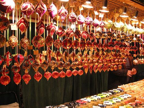 Christmas market ornament hut display (courtesy weisserstier at flickr CC)