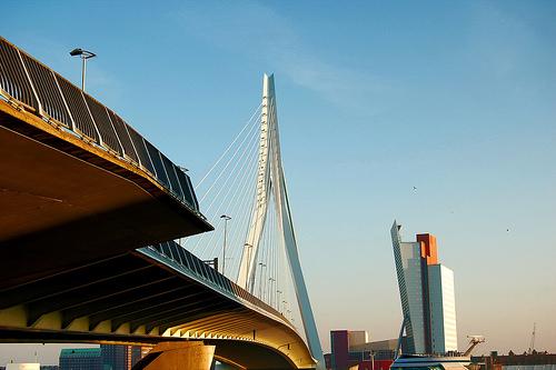 Erasmus Bridge and KPN Building, Rotterdam, the Netherlands (courtesy SvdR on flickr)