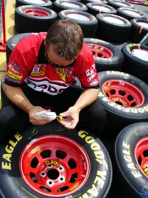 Tire lug nut preps at NASCAR's Coca-Cola 600 race, Lowe's Motor Speedway, Charlotte NC (Scarborough photo)