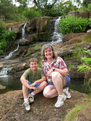 Waipo'o waterfall on Waimea Canyon hike, Kauai, Hawaii