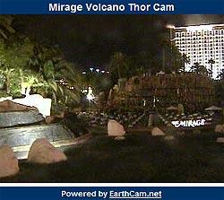 Mirage Las Vegas volcano webcam at night