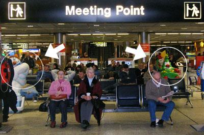 Dublin Airport winter statues