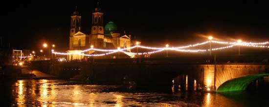 Athlone town bridge lit up by christmas lights
