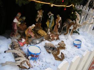 Irish nativity scene with reindeer