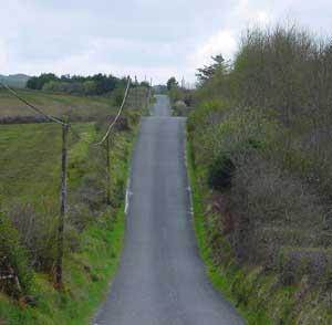Irish road passing through hills