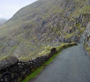 Irish road along a mountianside