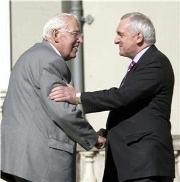 Ian Paisley shakes hands with Ireland Taoiseach Bertie Ahern