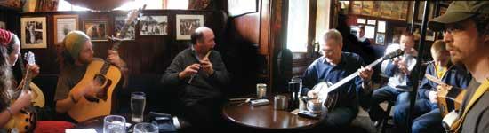 Traditional Irish music session in Sean's Bar, Athlone