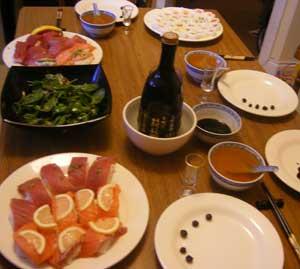 the table settings for irish sushi
