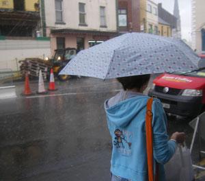 woman on church street in athlone in the rain
