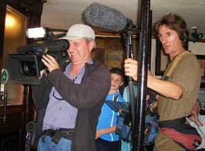 Australian The Great Outdoors camera crew in Sean's Bar, Athlone, Ireland