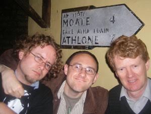 guy noir, the editor and sean lightholder in Sean's Bar, Athlone