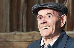 old irish man with big eyes