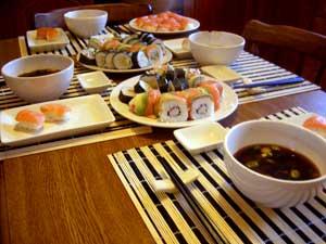Lightholder sushi table setting in Athlone