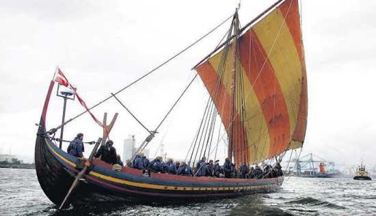 viking boat sails into dublin harbour
