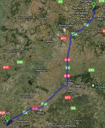 driving map paris to tours