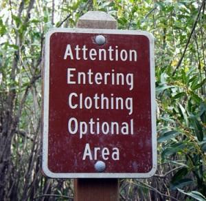 entering clothing optional area beach australia